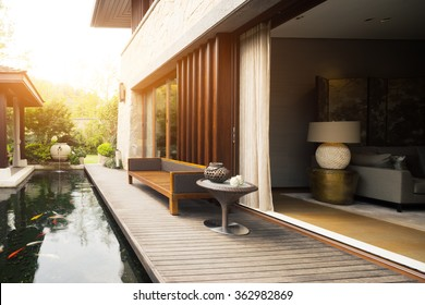 design and deco of rest place near entrance of house with sunbeam