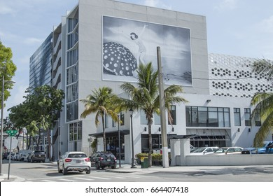 DESIGN DISTRICT, MIAMI, FL - JUNE 22nd, 2017: 2nd avenue overview in Design District Miami Midtown, famous expensive luxury boutiques design district next to Wynwood