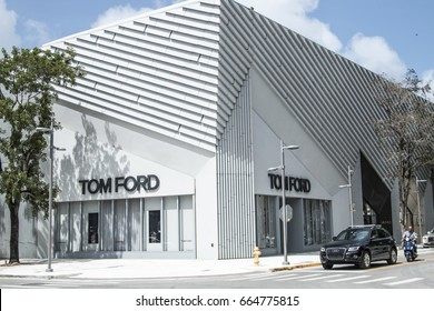 DESIGN DISTRICT, MIAMI, FL - JUNE 22nd, 2017: 2nd avenue Tom Ford boutique in Design District Miami Midtown, famous expensive luxury boutiques design district next to Wynwood