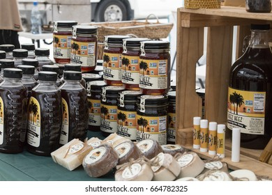 DESIGN DISTRICT, MIAMI, FL - JUNE 22nd, 2017: Farmers market at 2nd avenue, honey local brand display in Design District Miami Midtown next to Wynwood
