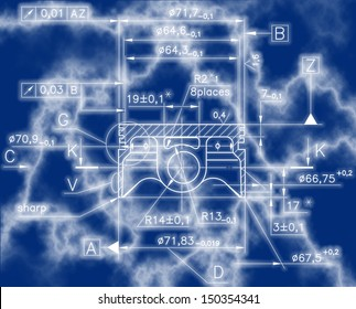Design drawings of nonexistent internal combustion engine ( piston ) . clipping path