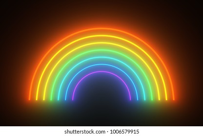 design element. 3D illustration. luminescent rainbow