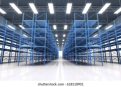 design element. 3D illustration. rendering. empty warehouse