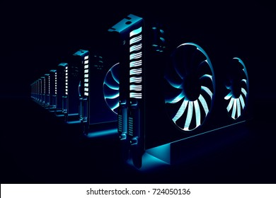 design element. 3D illustration. rendering. cryptocurrency mining farm. bitcoin and altcoins mining. graphic cards rig for Cryptocurrency mining