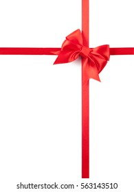design element Red ribbon bow on white background.