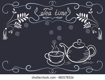 Design elements signboard for cafe or restaurant with corner ornament, tea cup, kettle and headline in style hand drawing and handwriting
