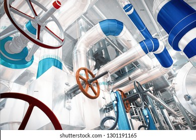 design of factory combined with photo of modern industrial power plant