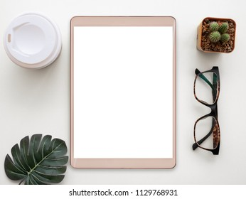 Design flat lay image of workspace desk on white background.