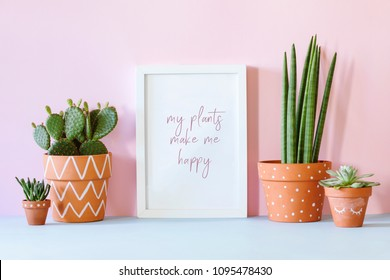Design interior filled a lot of plants in different clay pots on the blue table with mock up poster frame. Pink background wall.