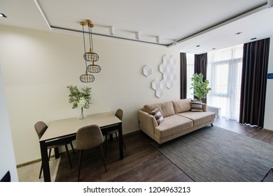 The design of the living room in a new apartment