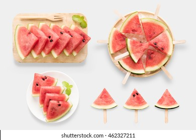 Design of mockup healthy watermelon and watermelon ice cream set isolated on white background. Clipping Path included on white background.