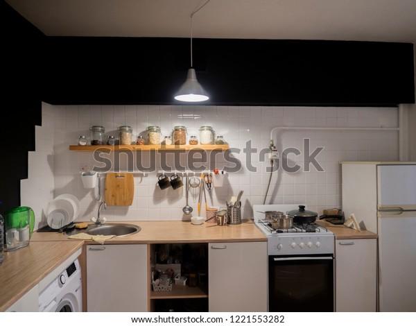 Design Modern Home Kitchen Loft Rustic Stock Photo Edit Now 1221553282
