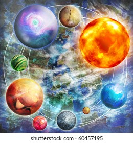 Design with mysterious composition with planets, digital picture