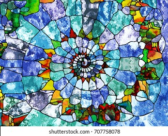 Design In Nature series. Arrangement of colorful textures on the subject of organic designs, forces of nature and abstract art