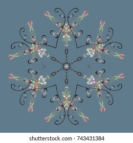 Design on neutral, gray and green colors. Abstract background with Floral Elements. Winter pattern.
