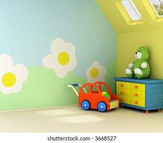 Design on the wall is my own image. Freshly painted room for a baby with the flower design on the wall