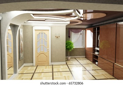 design of the outline of the interior of the apartment