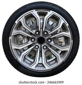 Design pattern of car wheel, tires car wheel, car wheel on white background