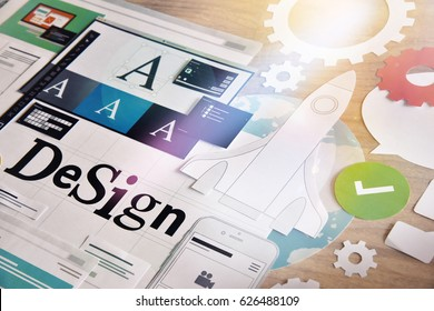 Design services. Concept for different categories of design, graphic and web design, logo, stationary and product design, company identity, branding, marketing material, mobile app, social media.