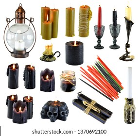 Design set with burning black red and colorful candles isolated on white. Wicca, esoteric, divination and occult concept with vintage magic objects for mystic rituals