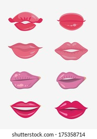 Design set of eight female lips. Beauty and make-up
