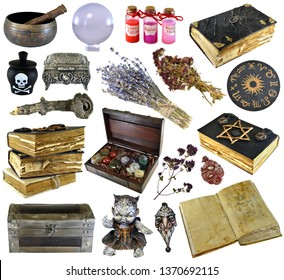Design set with old books, ancient manuscript,  witch herbs, potion isolated on white. Wicca, esoteric, divination and occult concept with vintage magic objects for mystic rituals