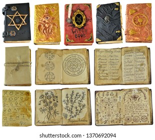 Design set with old witch books and manuscripts with spell isolated on white. Wicca, esoteric, divination and occult concept with vintage magic objects for mystic rituals