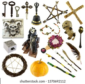 Design set with ritual objects with voodoo doll, pentagram, pumpkin isolated on white. Wicca, esoteric, divination and occult concept with vintage magic objects for mystic rituals