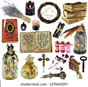 Design set with witch book, magic bottle, herbs, black candle isolated on white. Wicca, esoteric, divination and occult concept with vintage magic objects for mystic rituals