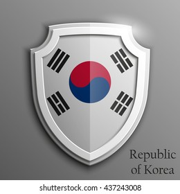 Design shield with flag and 3D effect on grey background - South Korea