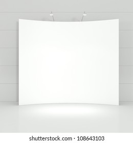 Design of Stand for Business Presentation in a White Empty Interior - 3d illustration
