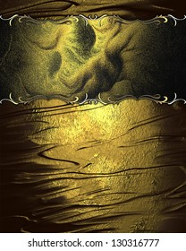 Design template - Beautiful golden background, with gold plate with gold trim