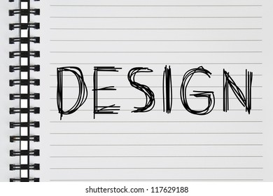 design text on the notebook