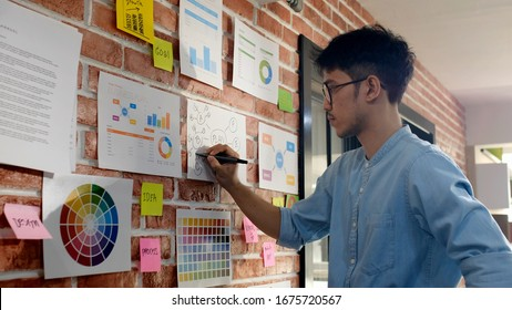 Design and think, Young asian creative design man thinking while writing plan on paper work ideas at office wall with concentration, Asia male brainstorming ideas on note, Business strategy, vision