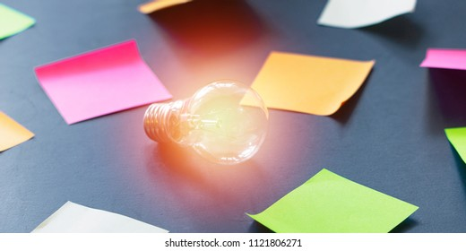 Design Thinking and a light bulb as the Big Idea concept in business. A photo can illustrate publications about the creative approach when searching for an idea for a startup