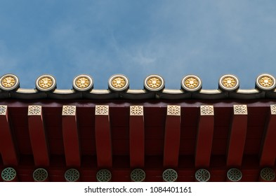Design of traditional roof of Chinese buildings with beautiful pattern.