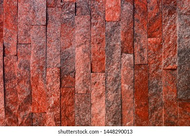 design vintage red natural quartzite stone bricks texture for use as background.