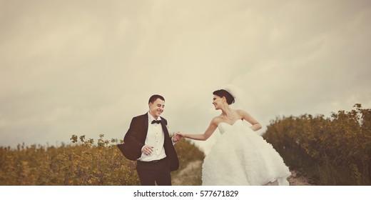 design of wedding photo book, happy newlywed couple