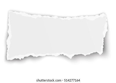 Design of white elongate paper tear with soft shadow isolated