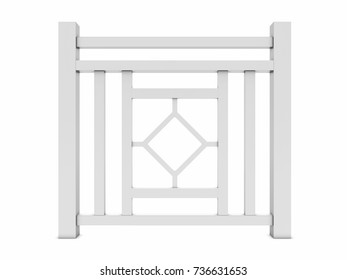 Design white metal railing render 3d model