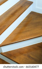 design of wood staircase in property residential white modern house