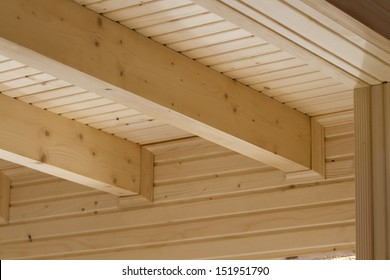 The design of the wooden beams on the ceiling of a new home.