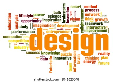 Design word cloud concept on white background, 3d rendering.