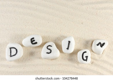 Design word on group of stones with sand background