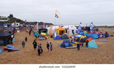 Designated as editorial. 2015 British Surf Life Saving Championships. Exmouth beach Devon England held 30th August. Teams annually compete in this event from across the country