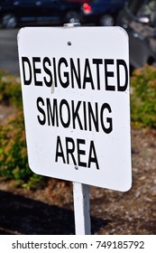 Designated smoking area sign.