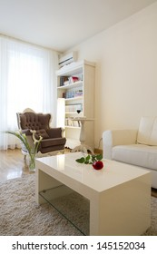 Designed armchair in modern living room with library shelves