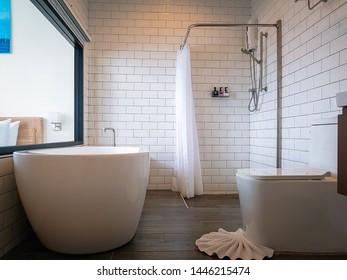 Designed of bath  in white modern bathroom.
