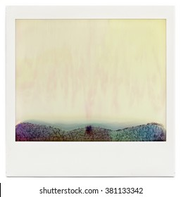 Designed blank instant film frame with abstract filling isolated on white, kind of background, or overlay layer for vintage effect, design element