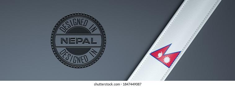 Designed in Nepal stamp & Nepali flag.